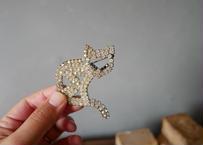 猫のブローチ きらきらラインストーン フランスアンティーク