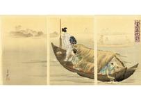 月耕 美人名所合 利根川鯉漁