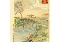 清親 日本名勝図会 常陸桜川より筑波山を臨む