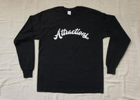 Attractions Logo L/S Tee(Body:Black, Print:White)