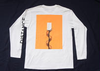 DISTANCE L/S Tee(Body:White, Back Print:Fluorescent Orange)