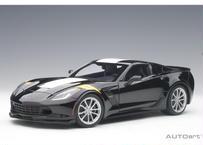 AUTOart 1/18 シボレー コルベット (C7) グランスポーツ (ブラック/ホワイト・ストライプ) ※イエロー・ハッシュマーク 71273
