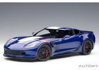 AUTOart 1/18 シボレー コルベット (C7) グランスポーツ (ブルー/ホワイト・ストライプ) ※レッド・ハッシュマーク 71275
