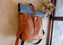 Backpack 【 collina 】-M size- / Light blue x Camel