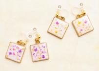 純金箔と押し花の耳飾り Pure Gold Leaf and Pressed Flowers Earrings