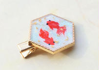 純金箔と金魚のヘアクリップ Pure Gold Leaf and Goldfishes Hair Clip