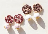 金沢水引のチョコな耳飾り Mizuhiki Earrings with Ceramics - Chocolate -