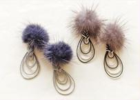 金沢水引とミンクファーのピアス Mizuhiki and Mink Fur Earrings