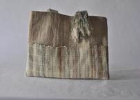 結び織ブローチ付  bag 草木染め