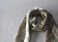 矢鱈縞ストール (横糸手紡ぎ)端白