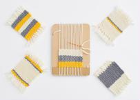 手織りでつくる 毛糸のコースター (イエロー・グレー・ホワイト)