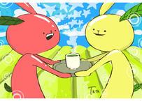 【e-9】お茶うさぎポストカード⑨