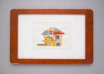 """Framed collage art work by Takaharu Shimizu, 清水貴栄コラージュ作品 """"House"""" from toto """"windy"""""""