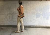 【散歩のおともに】パッチワークサコッシュ-リアルゴールデンブラウン/アーミーグリーン/ジャングルグリーン-
