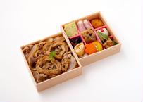 【MR様向け】あふそや特製牛丼と彩り9升の二段弁当【ペット茶付き】