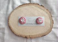 まるまる刺繍イヤリング(ピンク)