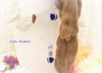 【この1点限り】マカロンハート(ブルー×シルバー)イヤリングとネックレスのセット♥セットで、この価格! With-Rabbit◆ウィズラビット*アクセサリー