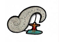 """MACON & LESQUOY マコン・エ・レスコア LARGE HAND-EMBROIDERED """"SURFER"""" BROOCH ブローチ"""