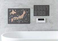 """【charcoal gray】japan map &""""kuku""""  poster 日本地図・九九ポスター  お風呂に貼れる"""