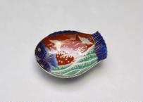 染錦手波鶴紋  魚型皿(小)(アウトレット品)