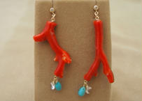 Red Coral Design Earrings