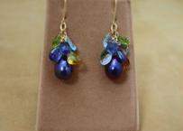 Color Stone&F.W.Pearl Chapeau Earrings