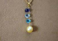 GoldenPearl&ColorStone PendantTop(2)