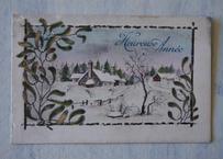 ヤドリギ やどりぎ アンティークポストカード 雪景色の家