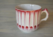 18世紀 リュネビル窯 赤い彩色のカップ #1 ヒビあり〖202105-02〗