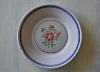 白釉 オレンジ色の花とブルーライン 19世紀 ヴァラージュ 〖20200214-06〗