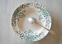 ヤドリギ ロンシャン窯 スープ皿 アボリーにグリーンの柄 24.9cm カケあり【2020DEC-057】