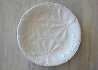 ナンス・ス・サンタンヌ窯 白いファイアンスフィーヌ 葉っぱレリーフ皿 #4〖202108-010〗