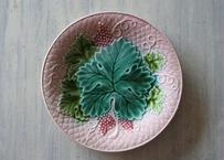 バルボティーヌ サラン窯 葡萄の葉っぱと実 デザート皿 ピンク〖202103-24〗