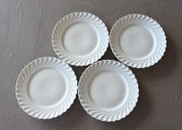 リモージュ アヴィランド 白いポーセリン デザート皿 19.5cm 4枚セット〖202109-19〗