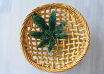 南仏陶器 黄釉 葉っぱモチーフのパニエ陶器 直径27.5cm