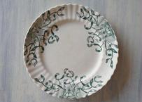 ヤドリギ ロンシャン窯 ディナー皿 アボリーにグリーンの柄 25cm 【2020DEC-058】
