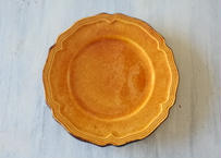 デュルフィ窯 黄釉 花リムデザートプレート 直径23cm Bランク〖202101-19〗