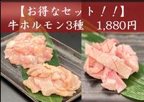 お得なセット!!牛ホルモン3種 300g【2種類のタレ付き】