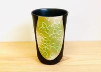 グリーン小花模様ビアカップ