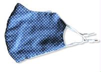 息がしやすい洗える夏用布マスク【綿100%】立体ガーゼマスク(星・ブルー) 長さ調整ストッパー式 サイズ(約)24㎝×14㎝