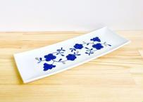 白絹藍銀花長方尺皿