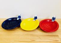 幸せ呼ぶ!!三色一閑人(瑠璃・黄・赤)茶菓子皿セット