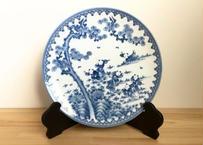 [陶器市]伝統工芸士作品染付7人手描き唐子絵32㎝飾り皿・皿立付(1点もの)