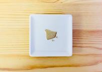 白吹金千鳥角豆皿