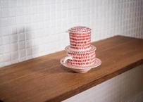 ベトナム_陶器のコーヒードリッパー&カップソーサーセットしずく柄赤 食器棚が急に可愛くなるやつ!