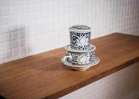 ベトナム_陶器のコーヒードリッパー&カップソーサーセット蓮の花青 食器棚が急に可愛くなるやつ!