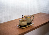 ベトナムバッチャン焼き_陶器のミルクピッチャー4点セット /和風の釉薬のほうじ茶色×こげ茶がシックです