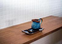 ベトナムバッチャン焼き_陶器のミルクピッチャー3点セット /和風の釉薬の青色がなんともきれいです!