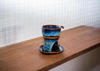ベトナムバッチャン焼き_陶器のアロマポット3点セット/和風の釉薬の青色がなんともきれいです!