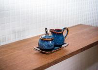 ベトナムバッチャン焼き_陶器のミルクピッチャー4点セット /和風の釉薬の青色がなんともきれいです!